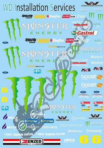1/10 Touring Car Decal Sticker Set V8 Supercars Monster Energy Racing Team