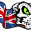 Thumbnail: Name Stickers Skull or Bulldog with Flag