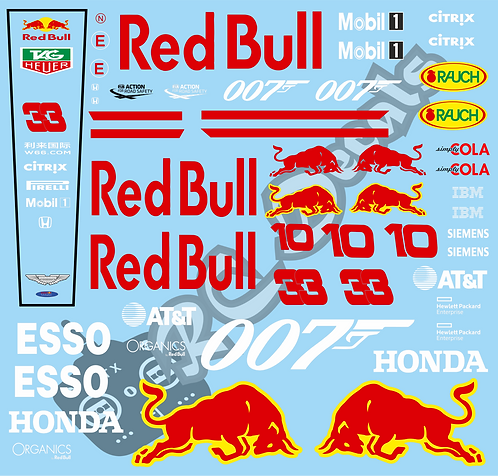 F1 1/10 Decal Red Bull RB15 2019 007