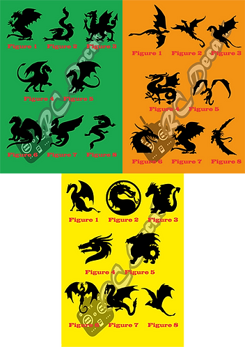Dragons Silhouettes - Choice of Colours