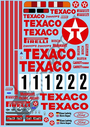 1/10 Touring Car Decal Sticker Set BTCC Ford Sierra Eggenberger Texaco 1988