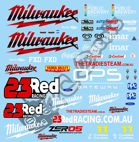 1/10 Touring Car Decal Sticker Set V8 Supercars  23 Red Milwaukee