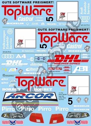1/10 Touring Car Decal Sticker SetAudi A4 TopWare STW 1998