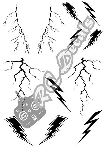 RC Airbrush Stencil Masks Lightning Style for Lexan for Bodyshell