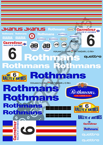1/10 Decal Rally Set Audi Quattro Rothmans 1986