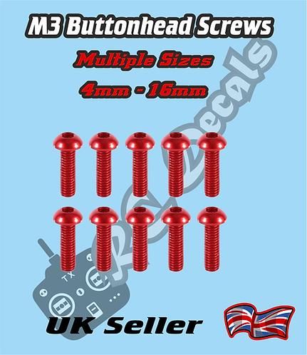 M3 Anodised Button Head Screws 4mm-16mm