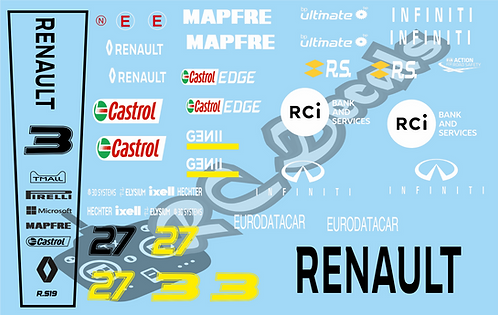 F1 1/10 Decal Renault RS19 2019  - Choice of tyre logo