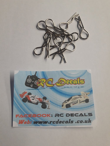 RC Body Clips 1/10 Scale Sliver pk 10