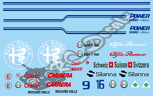 F1 1/10 Decal Set Alfa Romeo C37 2018 - Choice of tyre logo