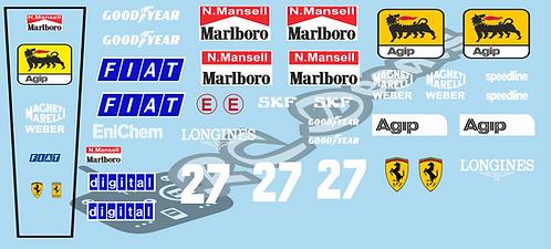 F1 1/10 Decal Ferrari 640 1989 - Choice of tyre logo