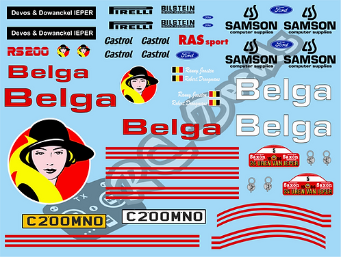 1/10 Mini Decal Set - Ford RS200 Belga