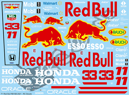 F1 1/10 Decal Red Bull RB16B 2021