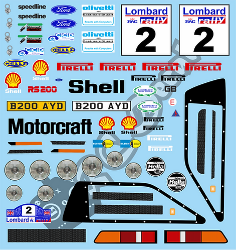 1/10 Mini Decal Set - Ford RS200 Lombard Rally