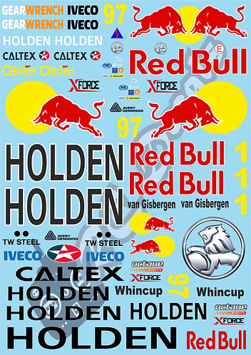 1/10 Touring Car Decal Sticker Set V8 Supercars - Red Bull Holden Racing Team
