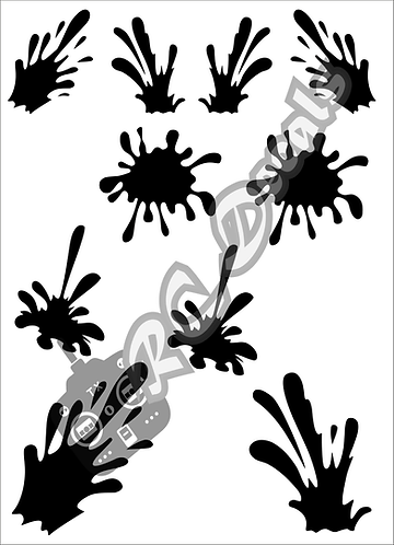 RC Airbrush Stencil Masks Paint Splat Style 3 for Lexan for Bod