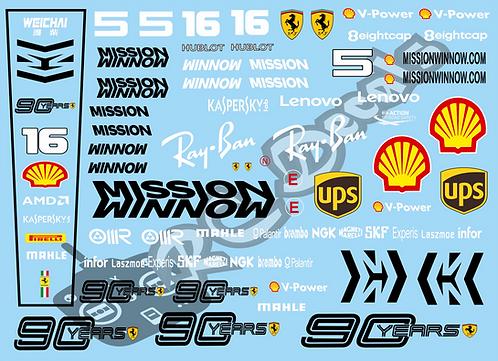 F1 1/10 Decal Set Ferrari Scuderia SF72H 2019 - Choice of tyre logo