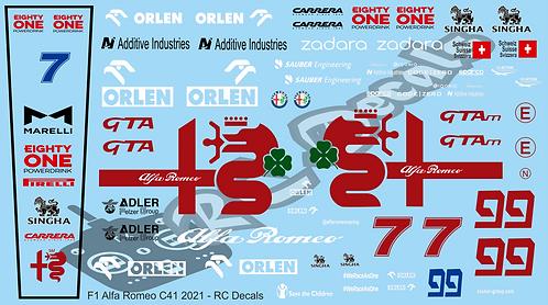 F1 1/10 Decal Alfa Romeo C41 2021 - Choice of tyre logo