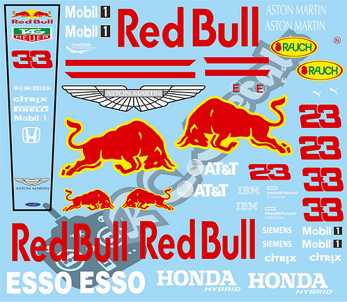 F1 1/10 Decal Red Bull RB16 2020 - Choice of tyre logo