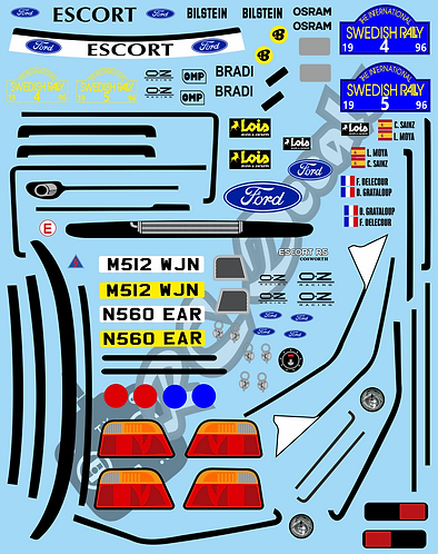 1/10 Decal Rally Set Ford Escort Cosworth - Repsol