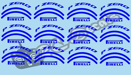 1/10 F1 Tires logos - Pirelli - Blue - Wet