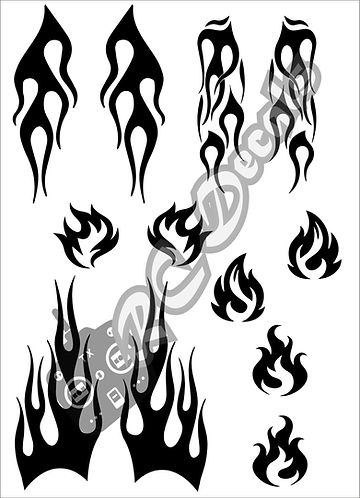 RC Airbrush Stencil Masks Flames Style 1 for Lexan for Bodyshell