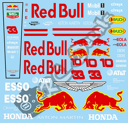 F1 1/10 Decal Red Bull RB15 2019  - Choice of tyre logo