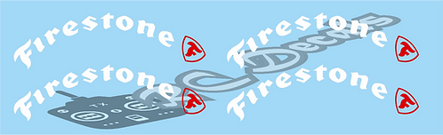 Tamiya 1/12 Firestone Lunchbox Tyre Decals various colours