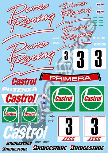 1/10 Touring Car Decal Sticker Set JTCC Nissan Primera  Castrol Pure Racing 1994