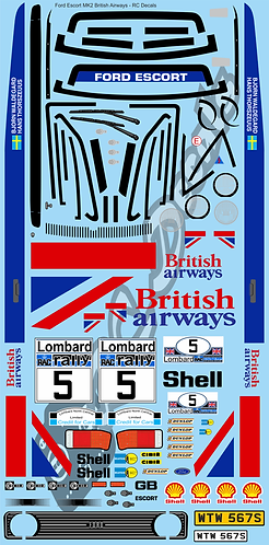 1/10 Decal Rally Set Ford Escort MK2 British Airways