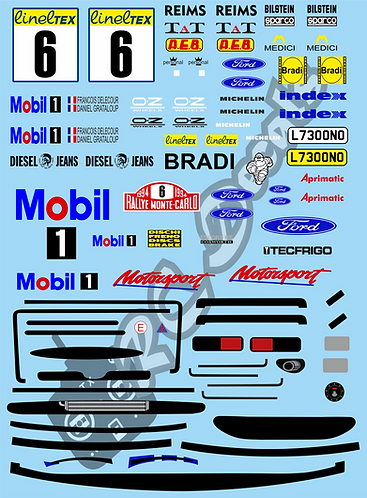 1/10 Decal Rally Set Ford Escort Cosworth Gluefinger 1994