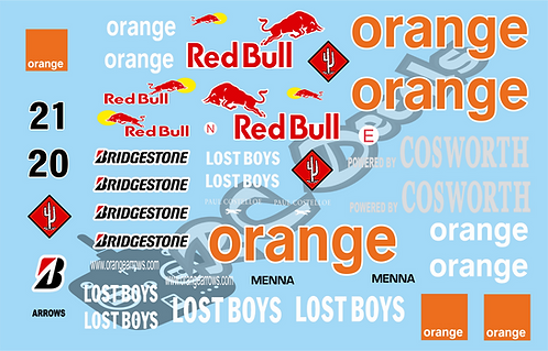 F1 1/10 Decal Set Arrows A23 2002 - Choice of tyre logo