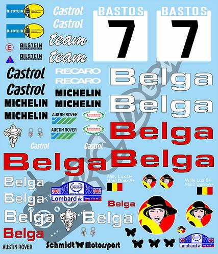 1/10 Decal Rally Set MG 6R4 Belga Bastos 1986