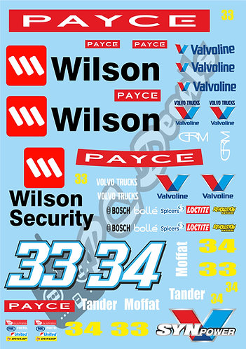 1/10 Touring Car Decal Sticker Set V8 Supercars - Wilson - Security