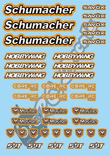Schumacher - Savox - Hobbywing - CoreRC - Maclan Decals Choice of Colours Av