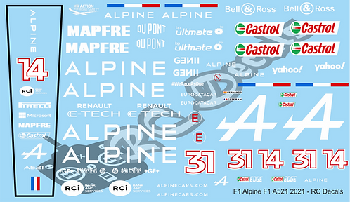 F1 1/10 Decal Alpine F1 A521 2021 - Choice of tyre logo