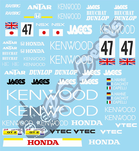 1/10 Touring Car Decal Sticker Set Honda NSX Le Mans (GT1) 1995