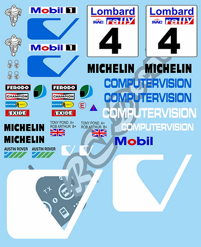 1/10 Decal Rally Set MG 6R4 Computer Version 1985