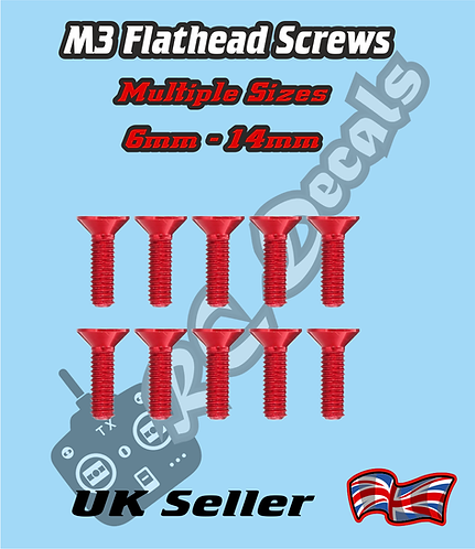 M3 Anodised Countersunk Flat Head Screws 6mm-14mm