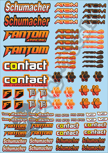 Schmacher, Contact, Team Bomber & Fantom Decals Choice of Colours Available