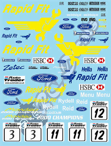 1/10 Touring Car Decal Sticker Set BTCC Ford Mondeo Rapid Fit 2000