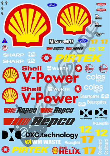 1/10 Touring Car Decal Sticker Set V8 Supercars Ford Mustang - Shell 2019
