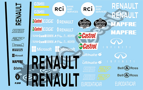 F1 1/10 Decal Set Renault RS18 2018 - Choice of tyre logo