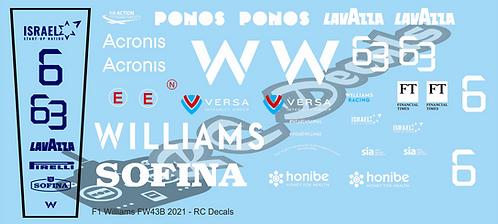 F1 1/10 Decal Williams FW43B 2021 - Choice of tyre logo
