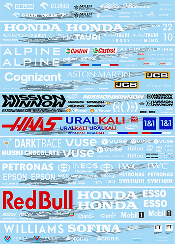 F1 1/10 2021 Wing Decal Sets