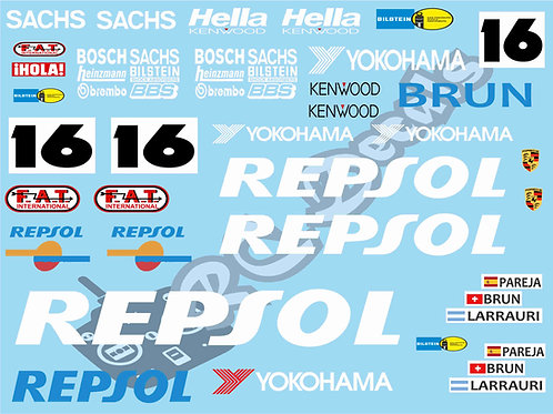 1/10 GT10 Decal Sticker Set Porsche 962C Repsol 1990