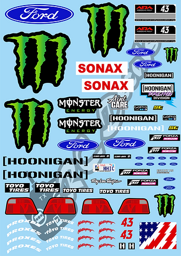 1/10 Decal Rally Set Ford Escort Cosworth - Ken Block's 2019 Livery