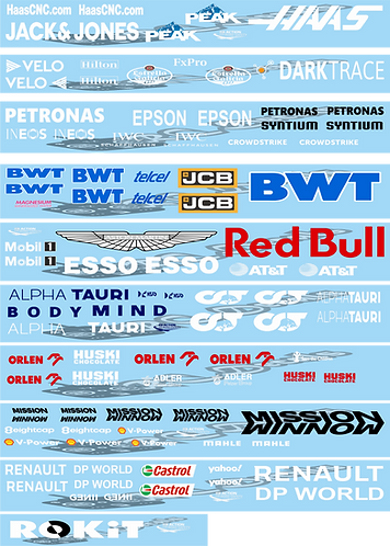 F1 1/10 2020 Wing Decal Sets