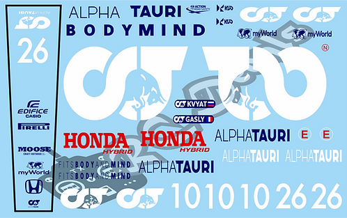 F1 1/10 Decal Alpha Tauri AT-01 2020  - Choice of tyre logo