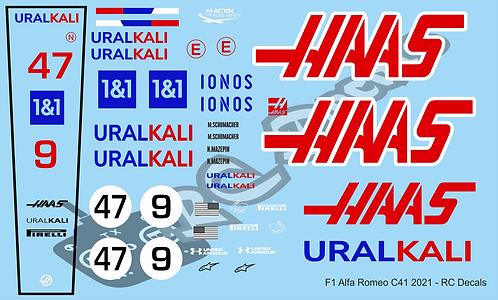 F1 1/10 Decal Haas F1 - VF-21 2021