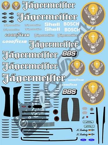 1/10 GT Car Decal Set Ford Capri Jagermeister